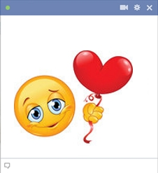 smiley facebook ballon coeur